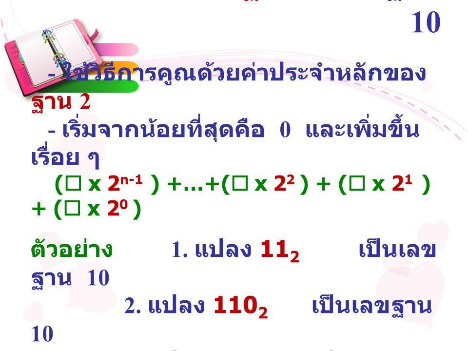 การแปลงเลขฐาน 2 เป็นฐาน 10