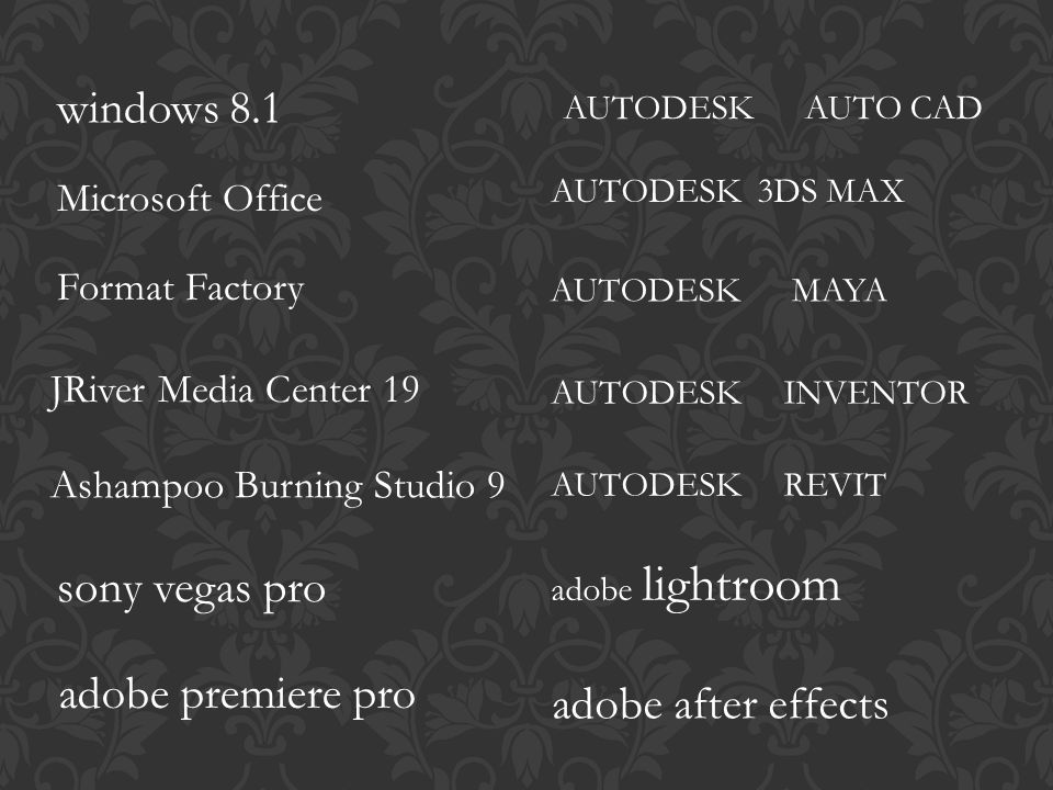 windows 8.1 sony vegas pro adobe premiere pro adobe after effects