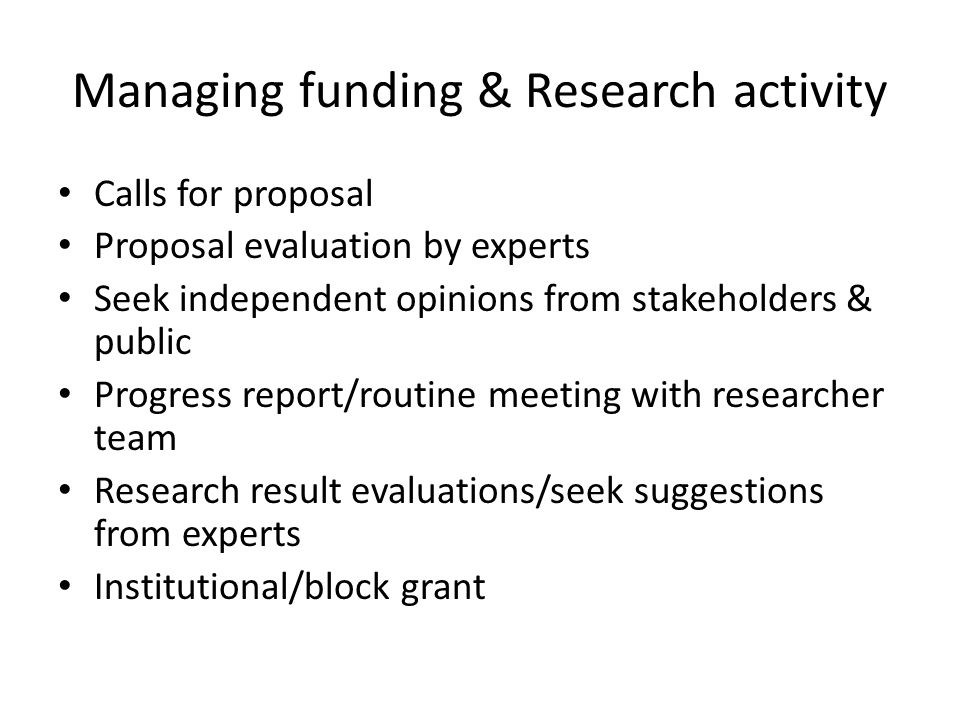 Managing funding & Research activity