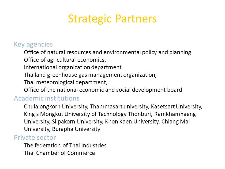 Strategic Partners Key agencies Academic institutions Private sector