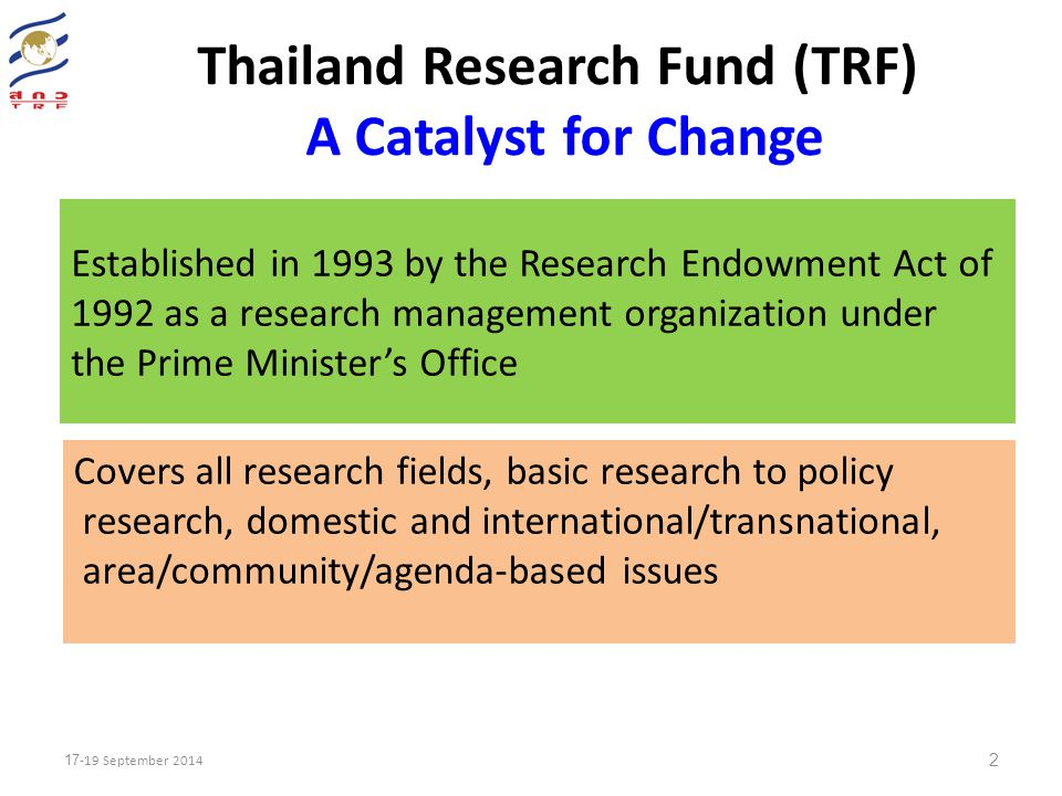 Thailand Research Fund (TRF) A Catalyst for Change