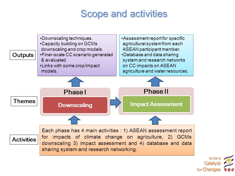 Scope and activities Phase I Phase II Outputs Impact Assessment