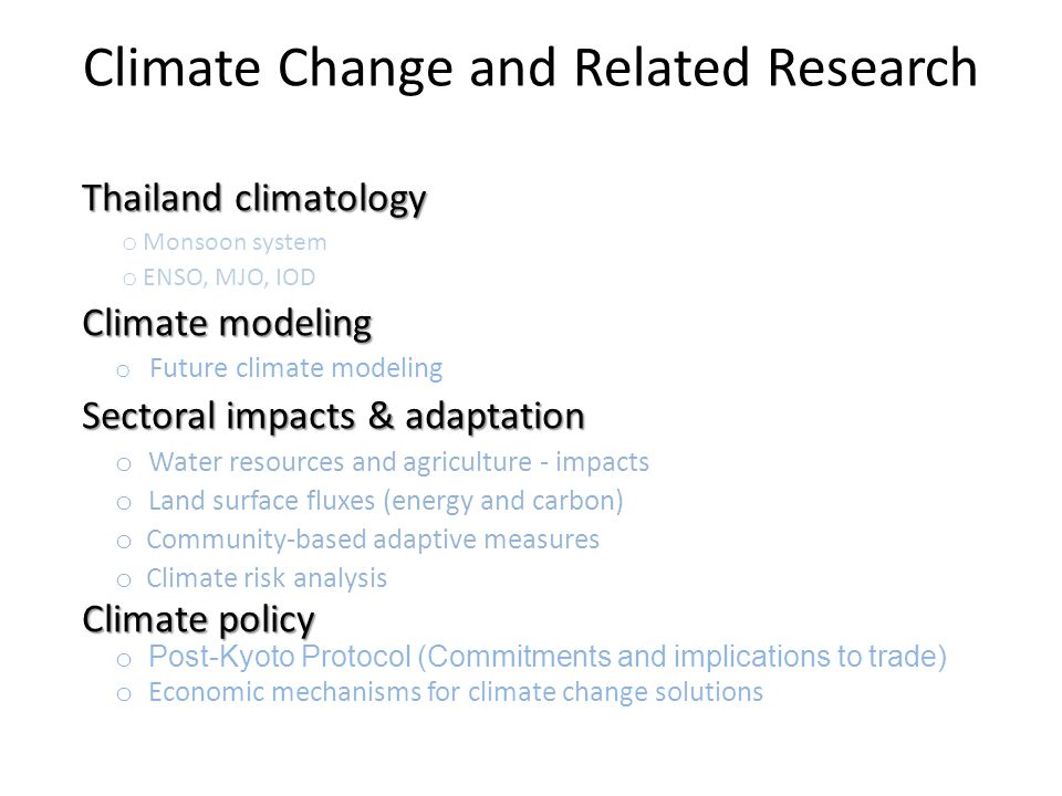 Climate Change and Related Research