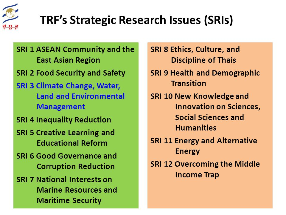 TRF's Strategic Research Issues (SRIs)