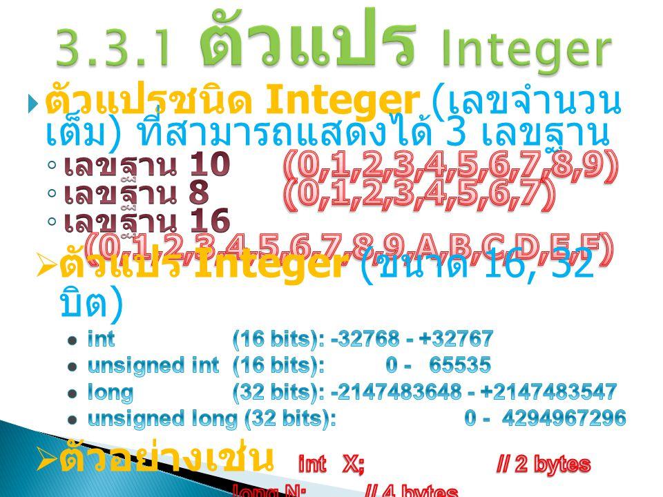 3.3.1 ตัวแปร Integer ตัวแปรชนิด Integer (เลขจำนวนเต็ม) ที่สามารถแสดง ได้ 3 เลขฐาน. เลขฐาน 10 (0,1,2,3,4,5,6,7,8,9)