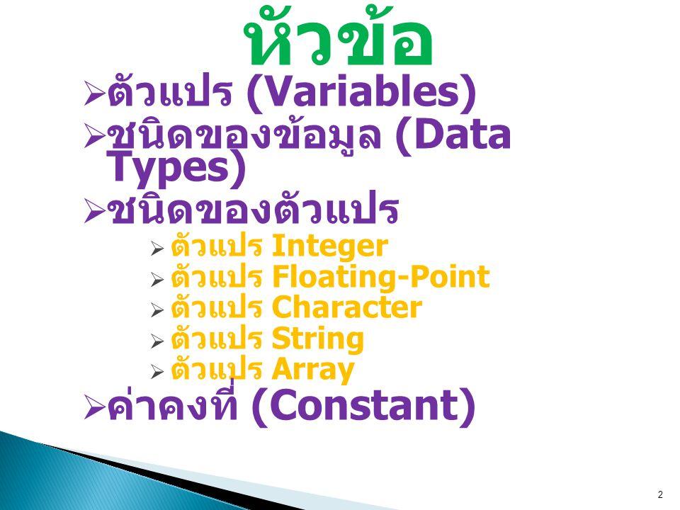 หัวข้อ ตัวแปร (Variables) ชนิดของข้อมูล (Data Types) ชนิดของตัวแปร