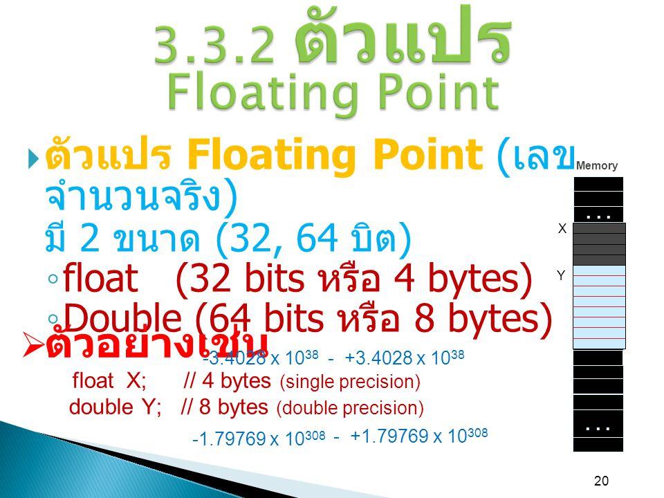 3.3.2 ตัวแปร Floating Point ตัวแปร Floating Point (เลขจำนวนจริง)