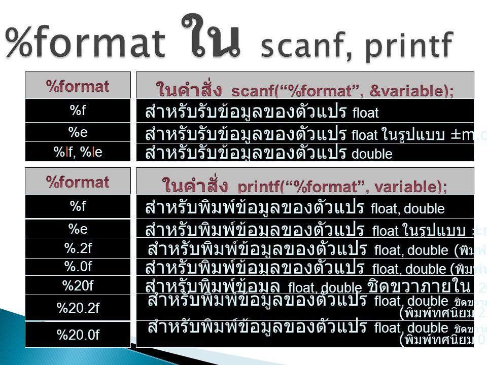 %format ใน scanf, printf
