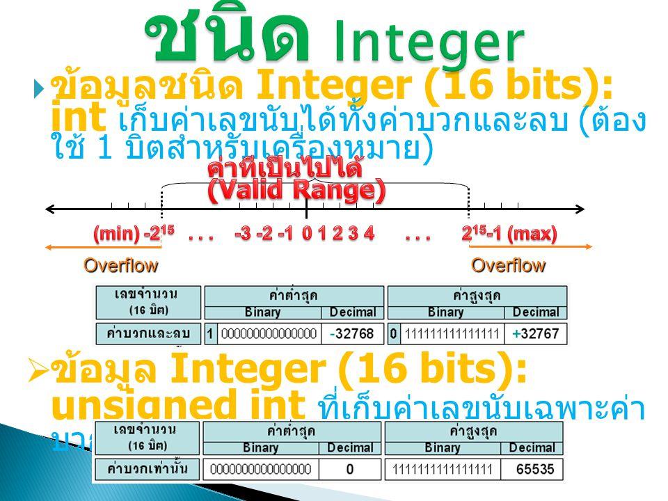 ชนิด Integer ข้อมูลชนิด Integer (16 bits): int เก็บค่าเลขนับได้ทั้งค่า บวกและลบ (ต้องใช้ 1 บิตสำหรับเครื่องหมาย)