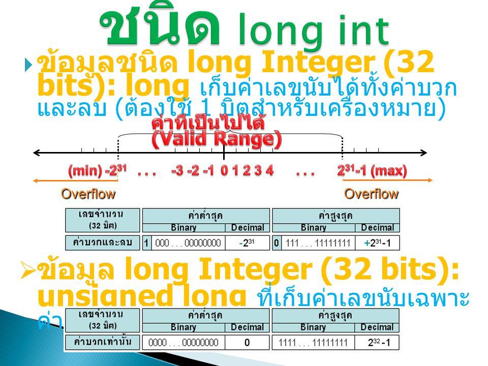 ชนิด long int ข้อมูลชนิด long Integer (32 bits): long เก็บค่าเลขนับได้ ทั้งค่าบวกและลบ (ต้องใช้ 1 บิตสำหรับเครื่องหมาย)