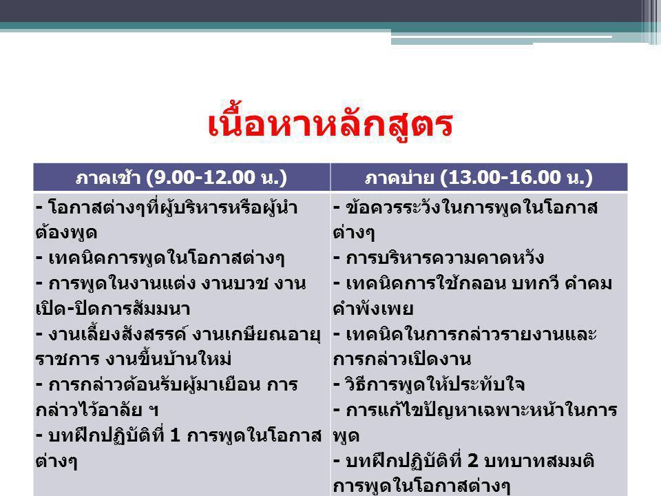 เนื้อหาหลักสูตร ภาคเช้า (9.00-12.00 น.) ภาคบ่าย (13.00-16.00 น.)