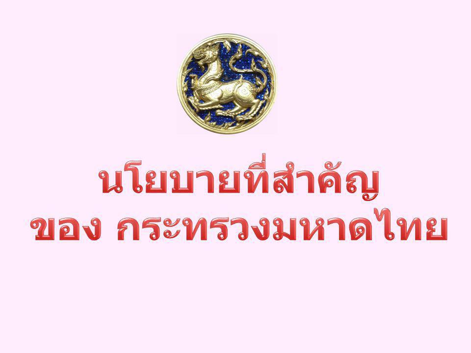นโยบายที่สำคัญ ของ กระทรวงมหาดไทย
