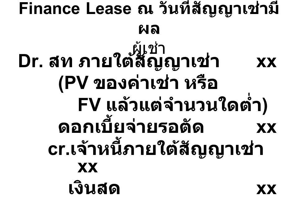 Finance Lease ณ วันที่สัญญาเช่ามีผล ผู้เช่า