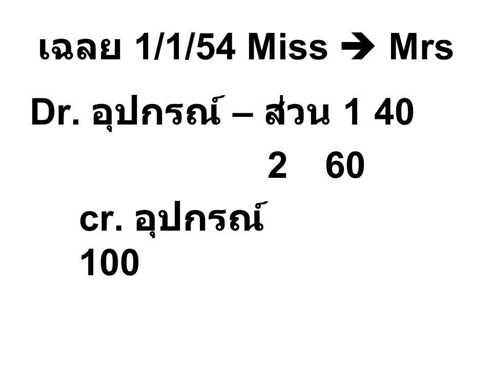 เฉลย 1/1/54 Miss  Mrs Dr. อุปกรณ์ – ส่วน 1 40 2 60 cr. อุปกรณ์ 100