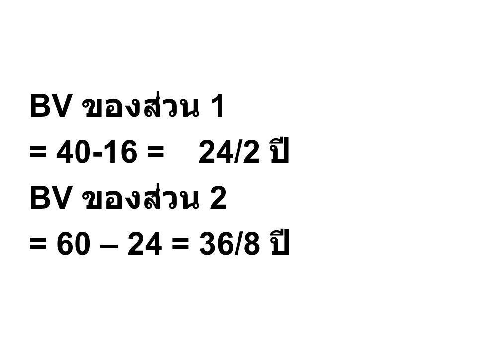 BV ของส่วน 1 = 40-16 = 24/2 ปี BV ของส่วน 2 = 60 – 24 = 36/8 ปี