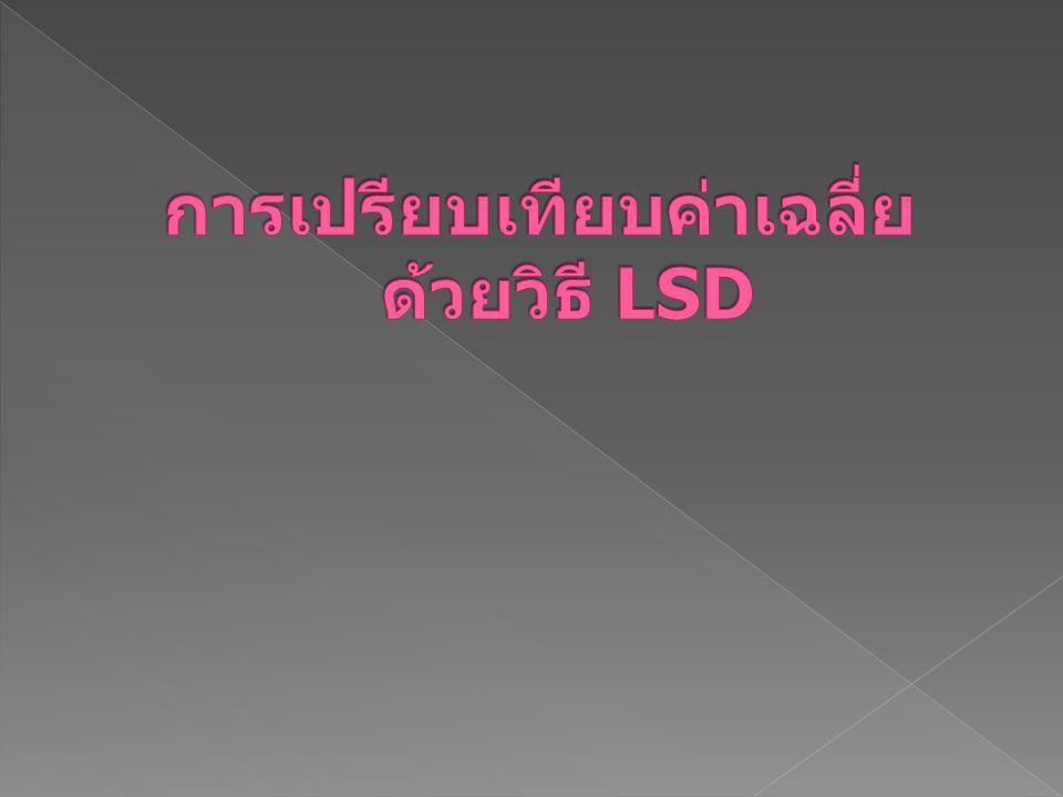 การเปรียบเทียบค่าเฉลี่ย ด้วยวิธี LSD