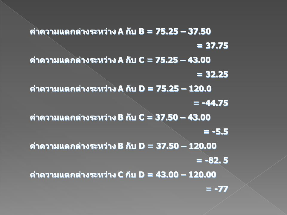 ค่าความแตกต่างระหว่าง A กับ B = 75.25 – 37.50