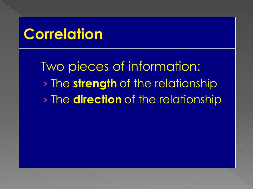 Correlation Two pieces of information: