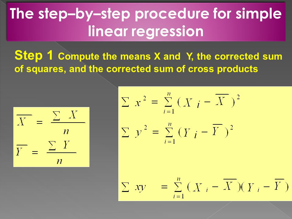 The step–by–step procedure for simple linear regression