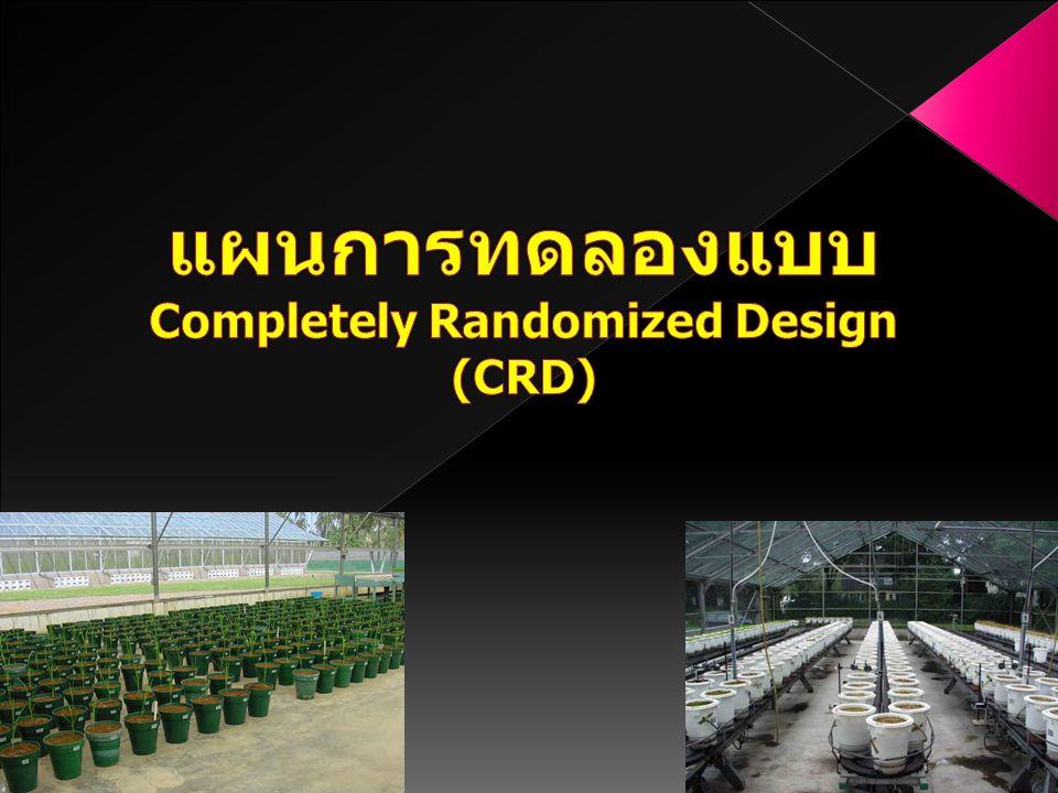 แผนการทดลองแบบ Completely Randomized Design (CRD)