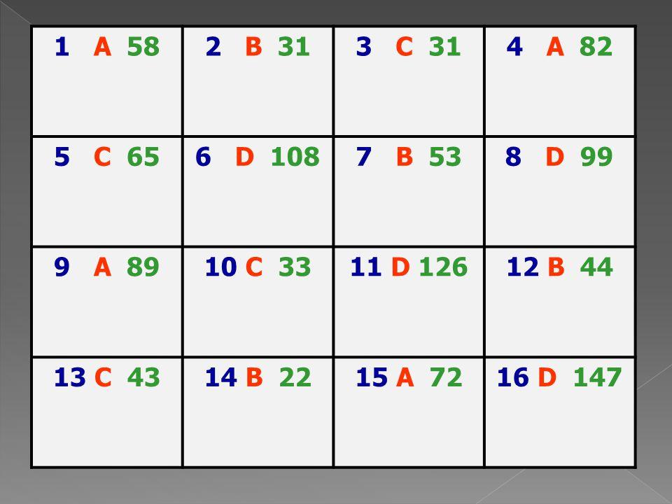 1 A 58 2 B 31. 3 C 31. 4 A 82. 5 C 65. 6 D 108. 7 B 53. 8 D 99. 9 A 89.