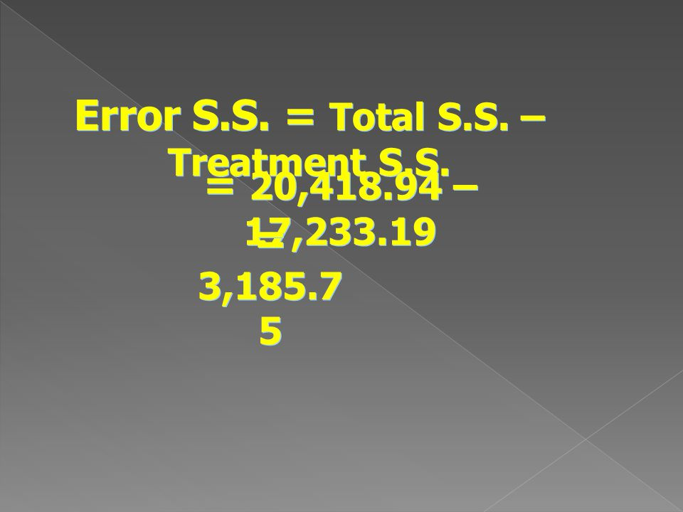 Error S.S. = Total S.S. – Treatment S.S.