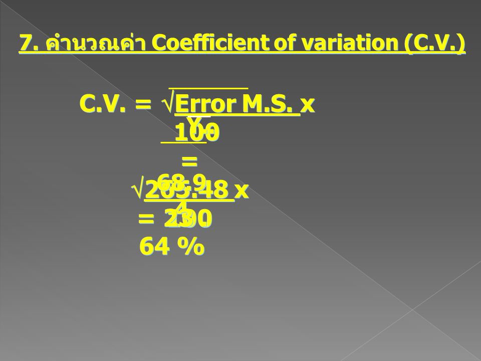 7. คำนวณค่า Coefficient of variation (C.V.)