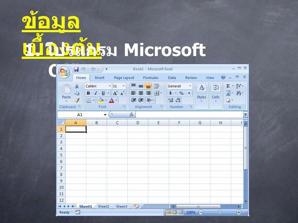 ข้อมูลเบื้องต้น 1. โปรแกรม Microsoft Office Excel
