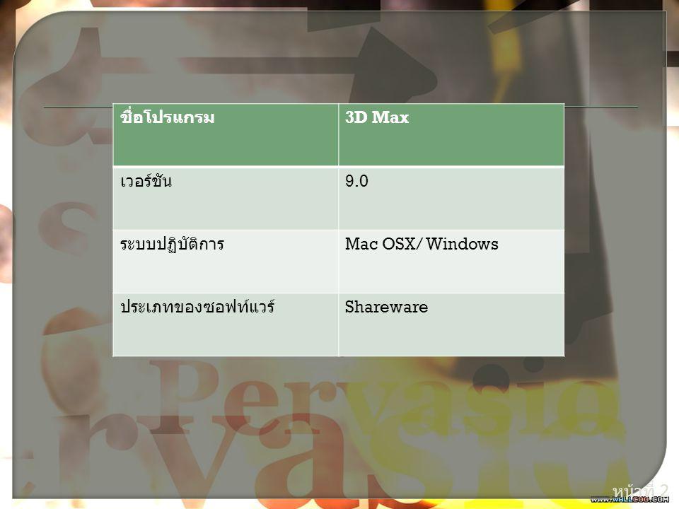 ชื่อโปรแกรม 3D Max เวอร์ชัน 9.0 ระบบปฏิบัติการ Mac OSX/ Windows ประเภทของซอฟท์แวร์ Shareware