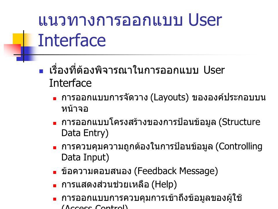 แนวทางการออกแบบ User Interface