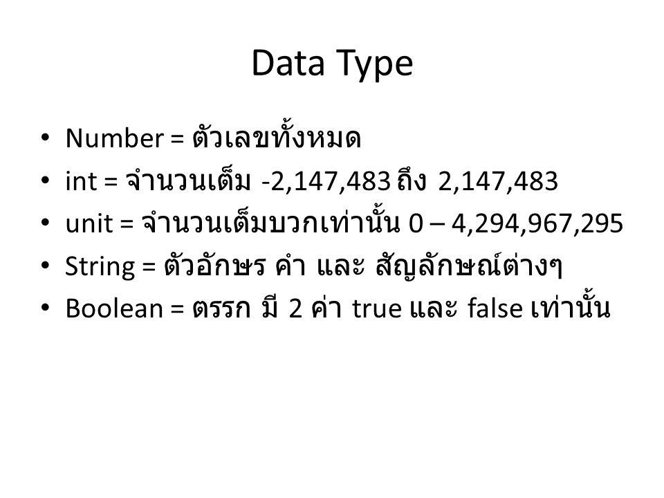 Data Type Number = ตัวเลขทั้งหมด