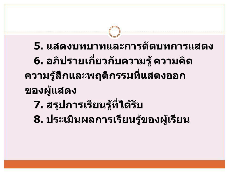5. แสดงบทบาทและการตัดบทการแสดง 6
