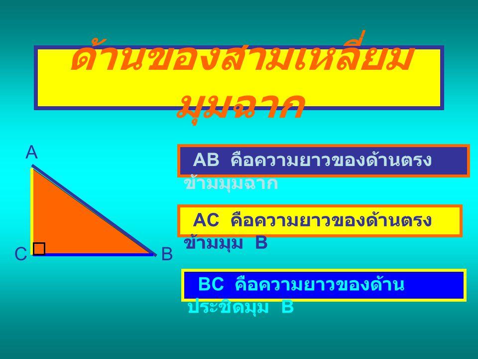 ด้านของสามเหลี่ยมมุมฉาก