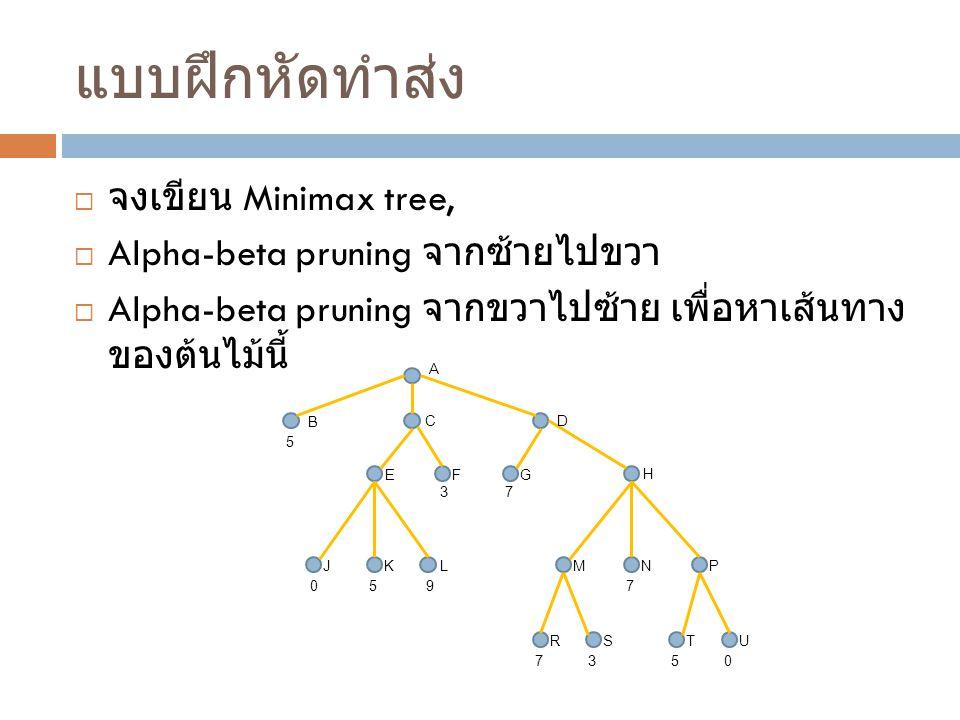 แบบฝึกหัดทำส่ง จงเขียน Minimax tree, Alpha-beta pruning จากซ้ายไปขวา