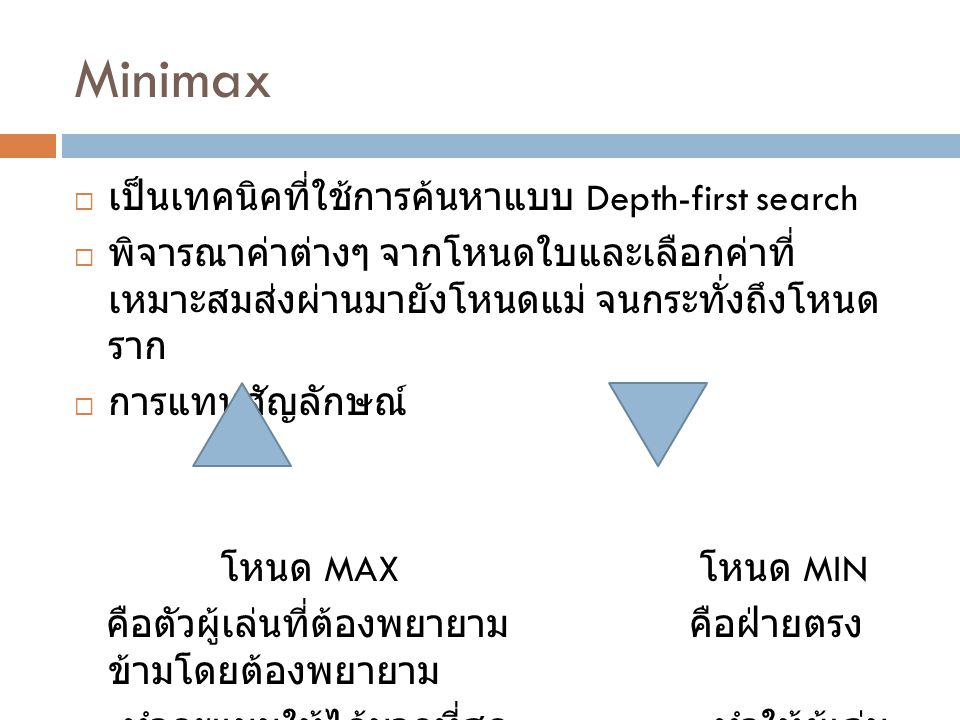 Minimax เป็นเทคนิคที่ใช้การค้นหาแบบ Depth-first search