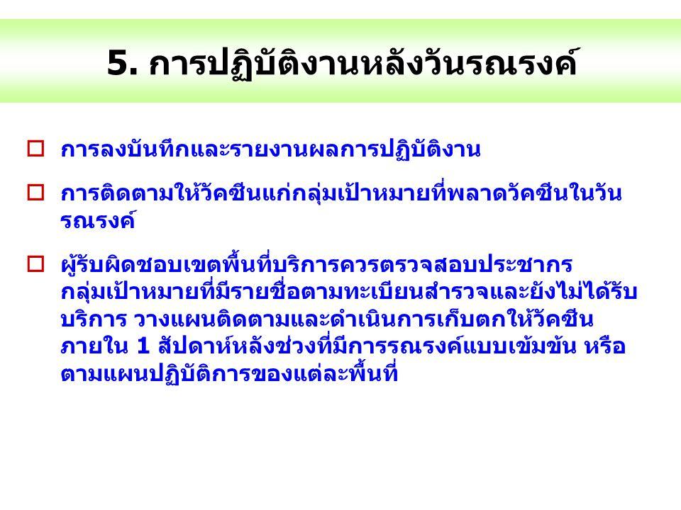 5. การปฏิบัติงานหลังวันรณรงค์