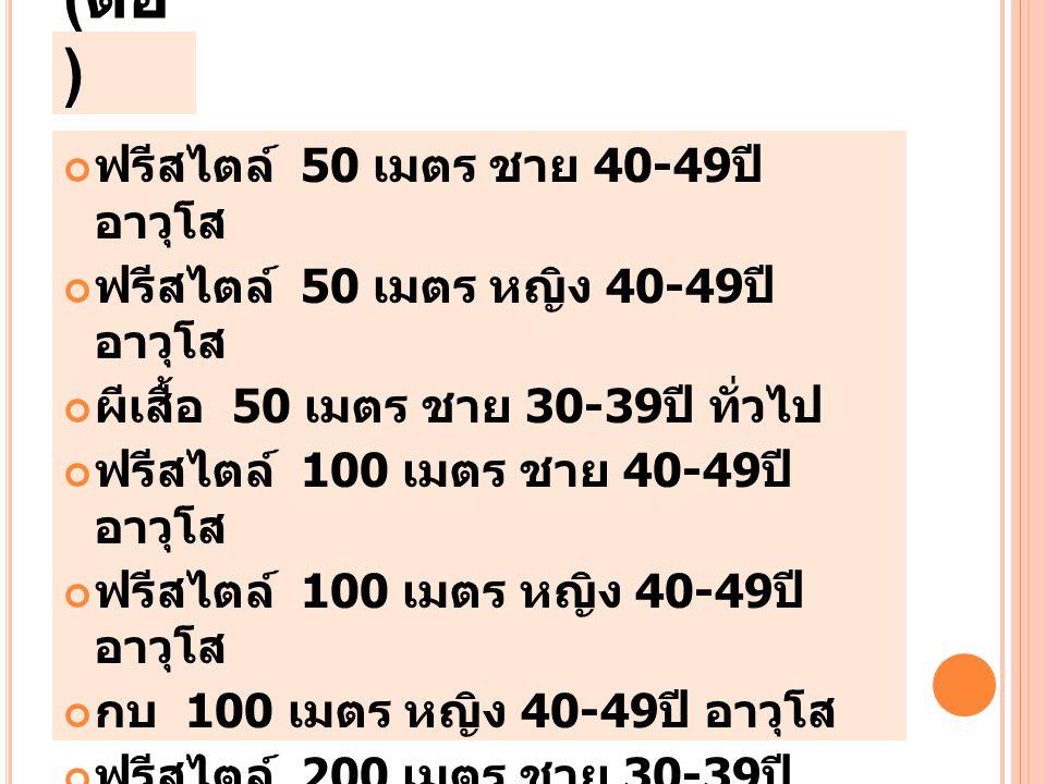(ต่อ) ฟรีสไตล์ 50 เมตร ชาย 40-49ปี อาวุโส