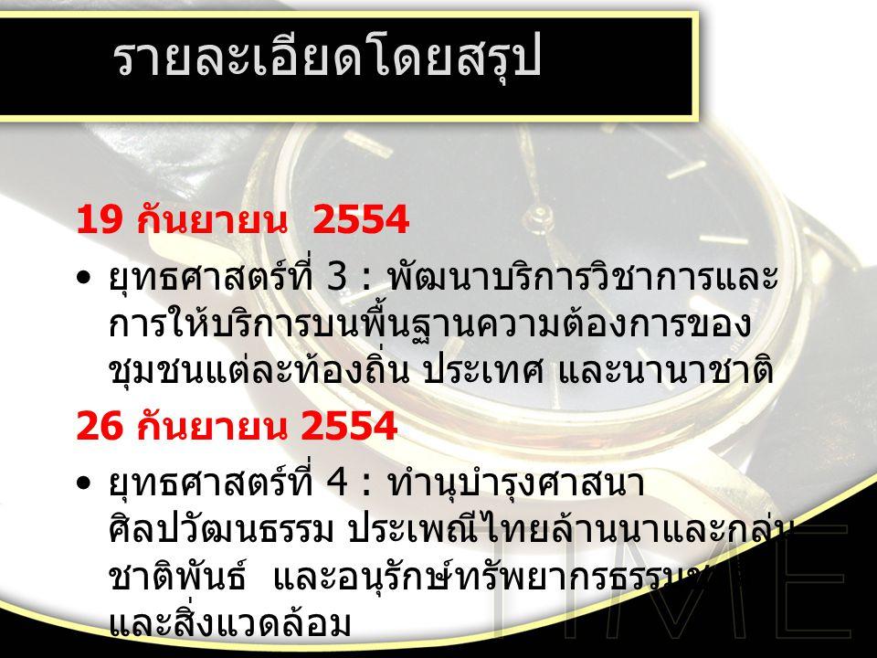รายละเอียดโดยสรุป 19 กันยายน 2554