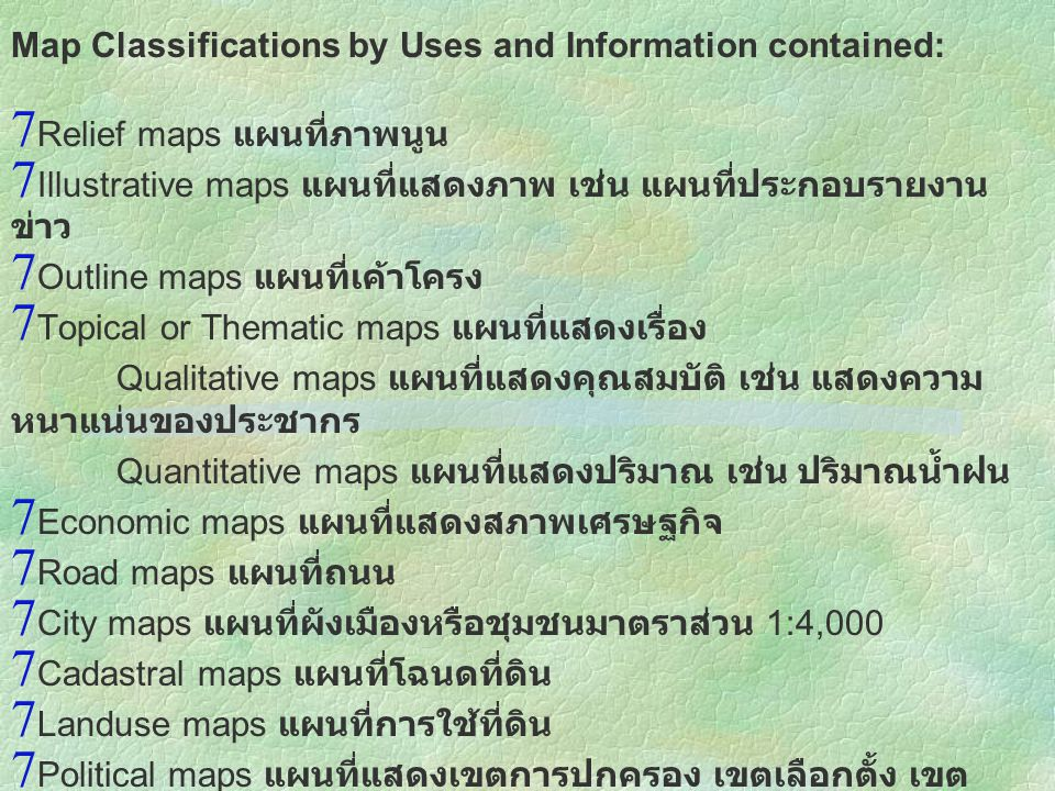 Map Classifications by Uses and Information contained: