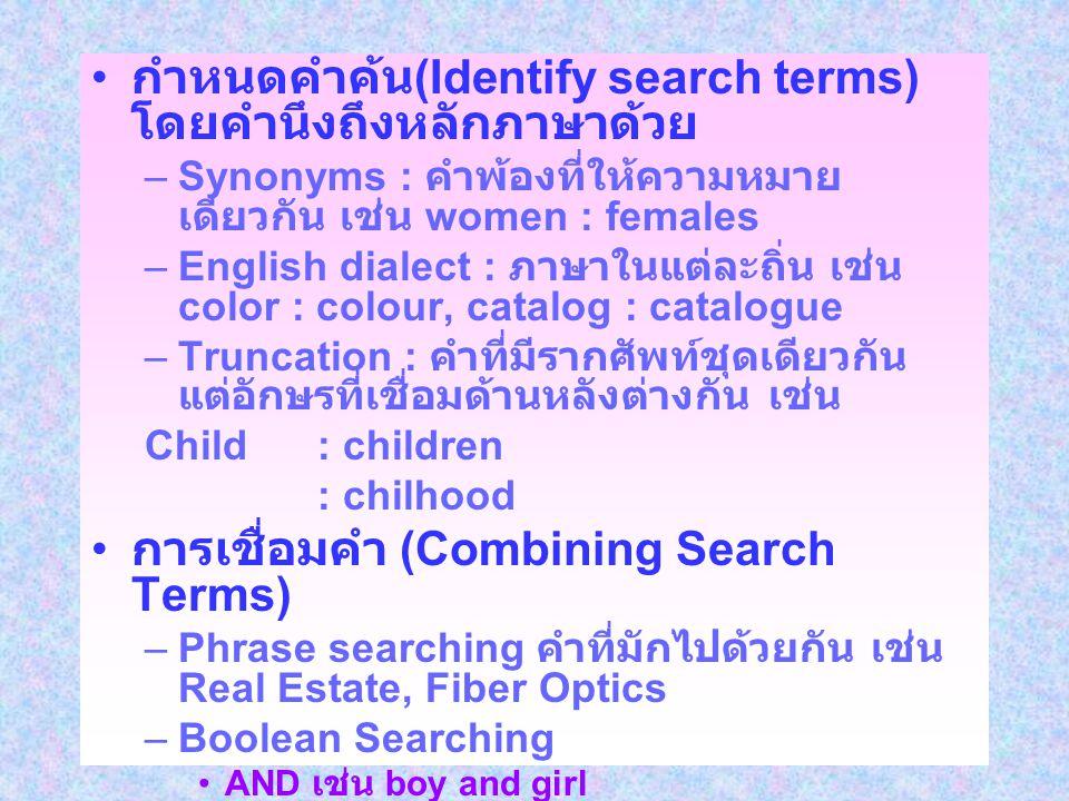 กำหนดคำค้น(Identify search terms) โดยคำนึงถึงหลักภาษาด้วย