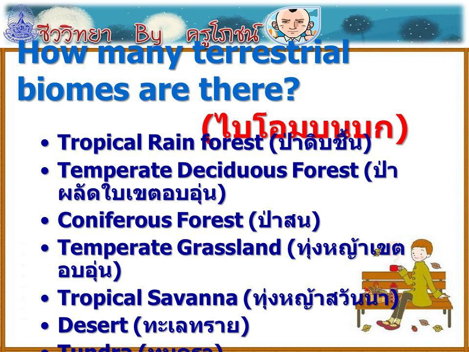 How many terrestrial biomes are there (ไบโอมบนบก)
