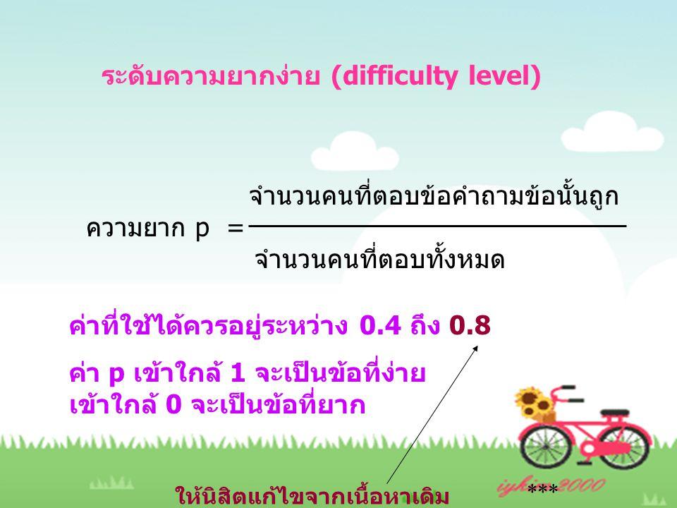 ระดับความยากง่าย (difficulty level)