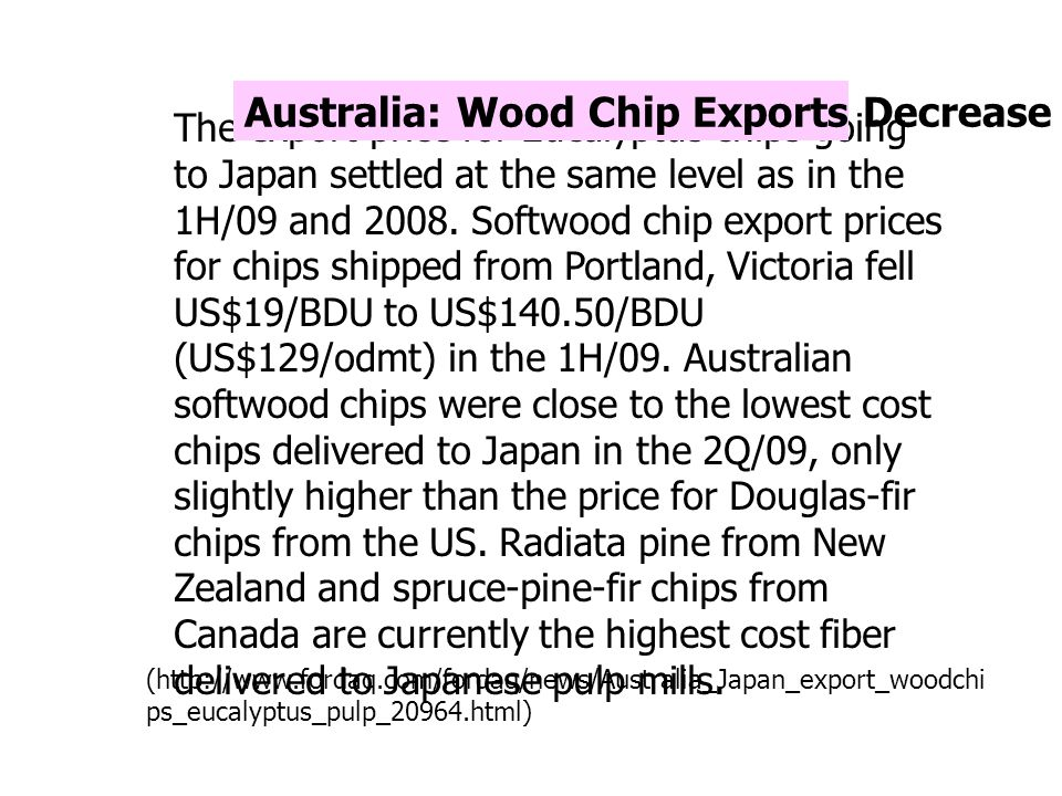 Australia: Wood Chip Exports Decrease in 2009