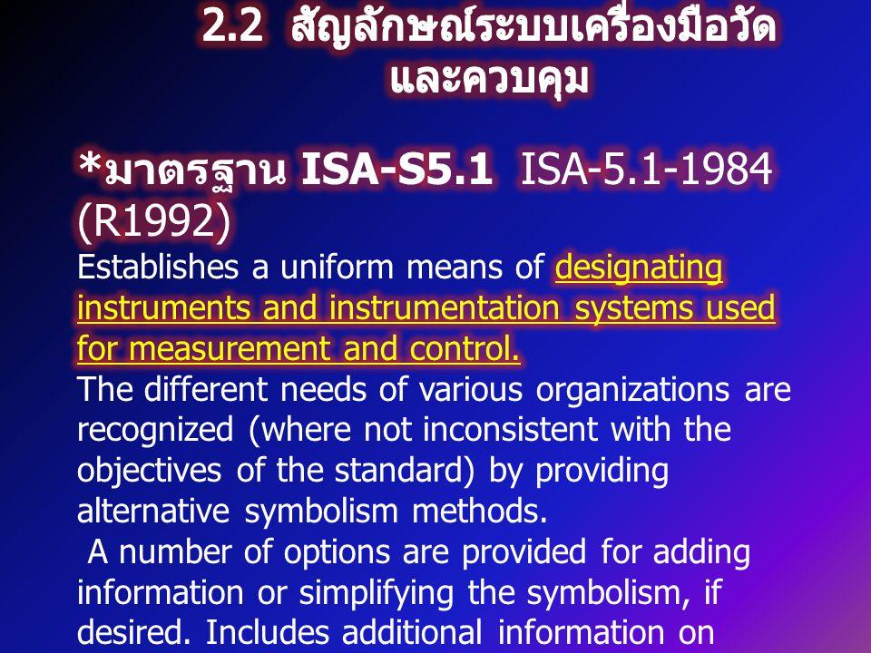2.2 สัญลักษณ์ระบบเครื่องมือวัดและควบคุม