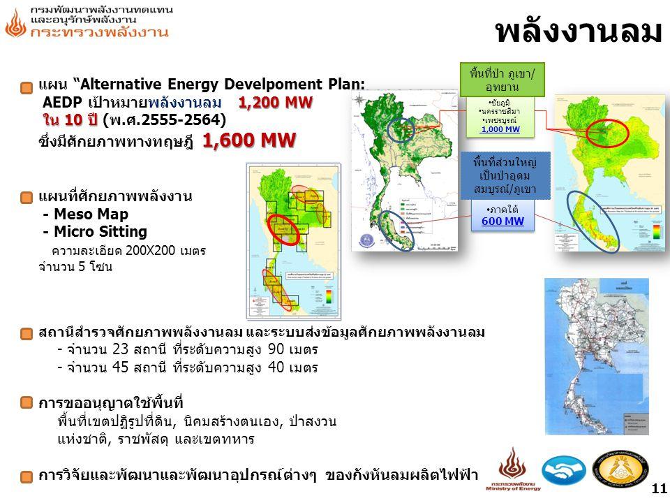พลังงานลม แผน Alternative Energy Develpoment Plan: