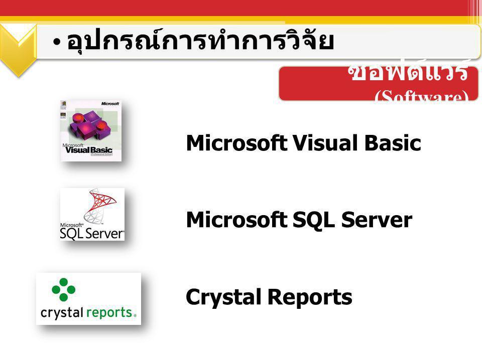 ซอฟต์แวร์ (Software) อุปกรณ์การทำการวิจัย Microsoft Visual Basic