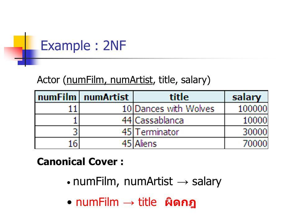 Example : 2NF numFilm → title ผิดกฎ