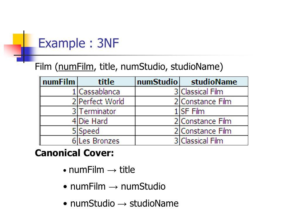 Example : 3NF Film (numFilm, title, numStudio, studioName)