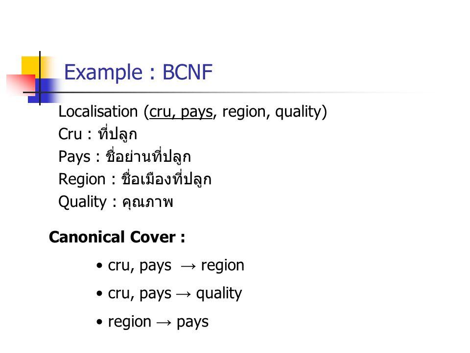 Example : BCNF Localisation (cru, pays, region, quality) Cru : ที่ปลูก