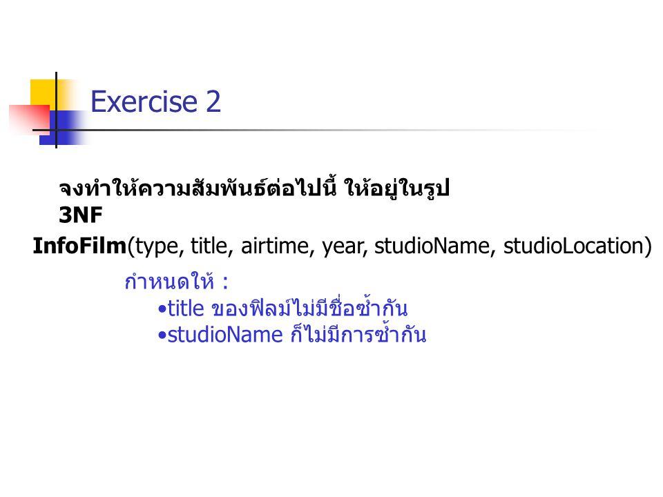 Exercise 2 จงทำให้ความสัมพันธ์ต่อไปนี้ ให้อยู่ในรูป 3NF